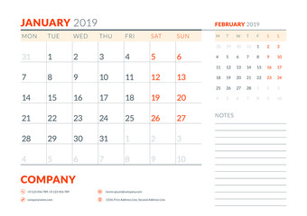 January 2019. Week starts on Monday. Calendar planner stationery design template. Vector illustration