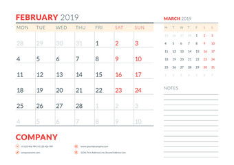 February 2019. Week starts on Monday. Calendar planner stationery design template. Vector illustration