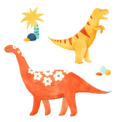 Watercolor dinosaur illustrtion