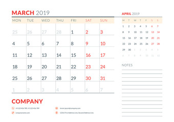 March 2019. Week starts on Monday. Calendar planner stationery design template. Vector illustration