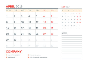 April 2019. Week starts on Monday. Calendar planner stationery design template. Vector illustration