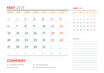 May 2019. Week starts on Monday. Calendar planner stationery design template. Vector illustration