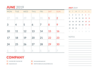 June 2019. Week starts on Monday. Calendar planner stationery design template. Vector illustration
