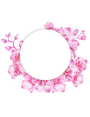 Tropical vintage frame with orchids. On white background, hand draw illustration, template for design.