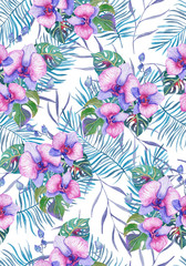 Watercolor tropical orchids and palm leaves seamless pattern.
