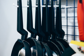 Row of frying pans