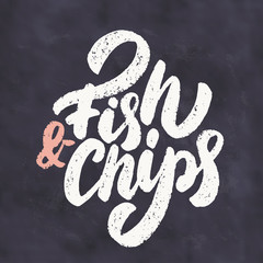 Fish and Chips. Chalkboard lettering sign.