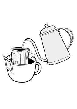 Drip bag coffee cup Illustrator vector template