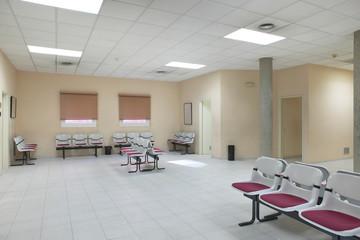 Public building waiting area. Hospital interior detail. Nobody