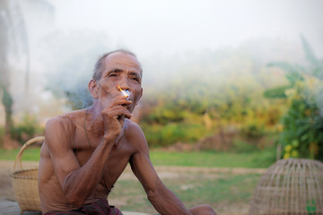 Older people are smoking.