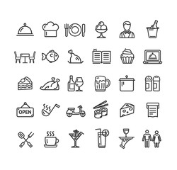 Restaurant Service Signs Black Thin Line Icon Set. Vector