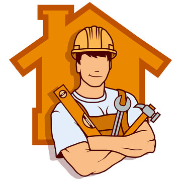 builder worker, building service logo, builder company emblem, vector illustration for web and mobile, vector artwork