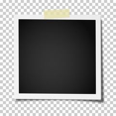 Retro realistic square photo frame with straight edges on a piece of sticky, adhesive tape placed on transparent background. Vector template photo design.