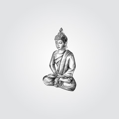 Hand Drawn small Buddha sculpture Sketch Symbol isolated on white background. Vector statuette of a buddha In sketch Style. Yoga hand drawing sketches elements