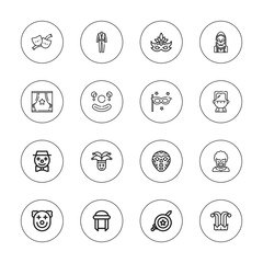 Collection of 16 outline costume icons