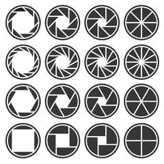 Aperture Camera Shutter Focus Icons Set. Vector