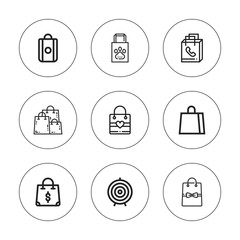 Collection of 9 outline shopper icons