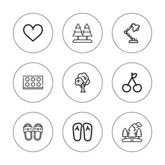 Collection of 9 outline decorative icons