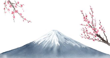 梅の花 富士山 水墨画 墨絵