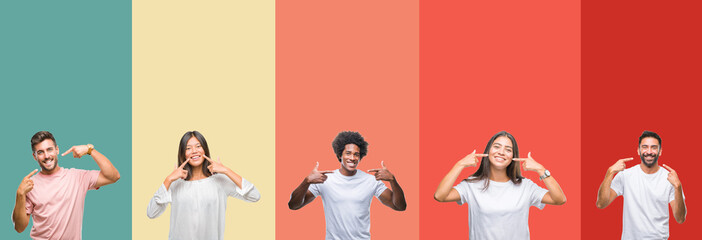Collage of different ethnics young people over colorful stripes isolated background smiling confident showing and pointing with fingers teeth and mouth. Health concept. Wall mural