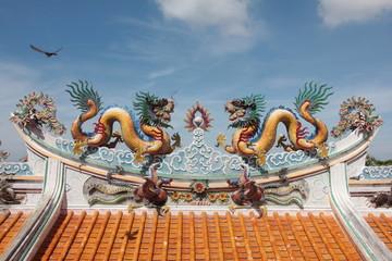 Dragon on the roof at Guan Yu Shrine, Chonburi Thailand.