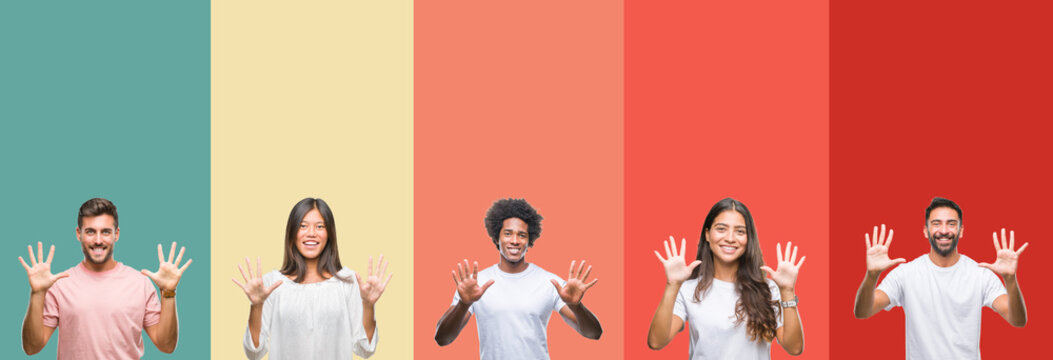 Collage of different ethnics young people over colorful stripes isolated background showing and pointing up with fingers number ten while smiling confident and happy.