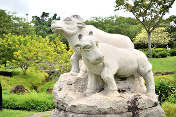sculpture representing the zodiacal sign of the ox in Chinese calendar