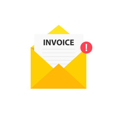 Wall Mural - Invoice envelope icon with a picture of a closed letter. Paper document enclosed in an envelope. Delivery of correspondence or office documents. Vector illustration.