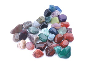 heart of colored stones on a white background