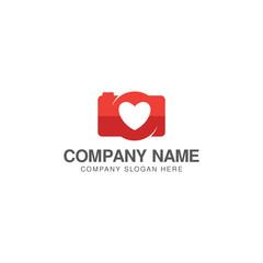 Photo love logo design vector template