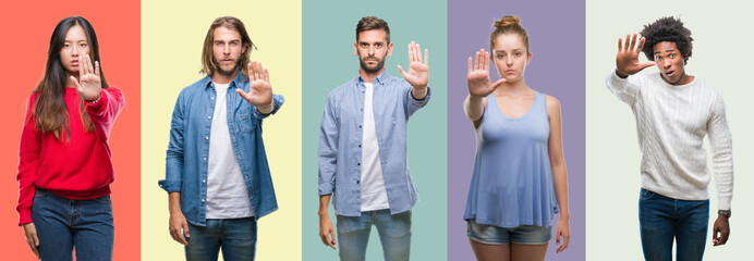 Composition of african american, hispanic and chinese group of people over vintage color background doing stop sing with palm of the hand. Warning expression with negative and serious