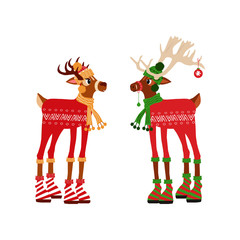 Cute two deer  character for christmas and new year holiday. Vector illustration  for presents, invitation, children room, nursery decor, t-shirt, banner, interior design.