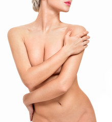 Poster Akt Beautiful young woman with clean skin nude topless breasts. Beautiful woman covering her nude breast.
