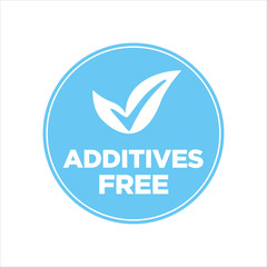 Additives free. Blue and white round icon.
