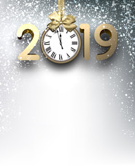Grey 2019 New Year background with gold clock and snow.