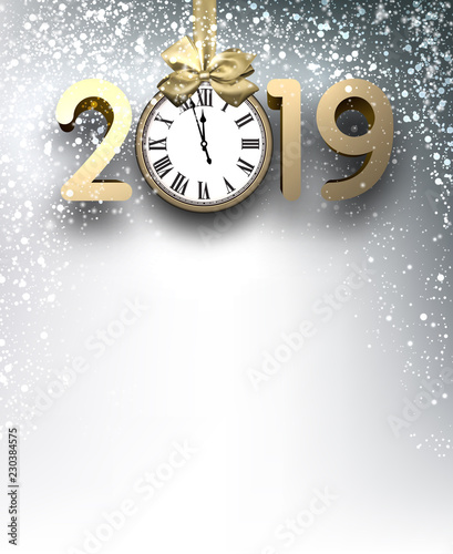 grey 2019 new year background with gold clock and snow
