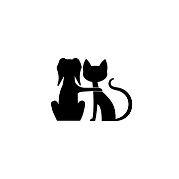 Dog and cat friends silhouette vector icons