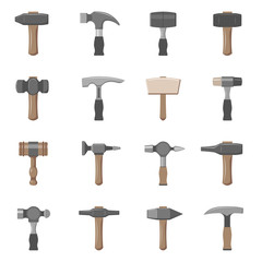 Sixteen different types of hammers