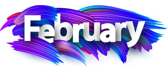 February banner with blue brush strokes.