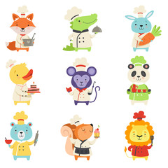 Cute animals in chef uniform set, lovely cartoon pets characters cooking delicious dishes vector Illustration on a white background