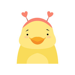 Yellow duckling wearing a headband with heart shape ears, cute cartoon animal character avatar vector Illustration isolated on a white background