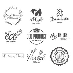 Eco food, organic bio products, eco friendly, vegan icons, ecology. Set of vector logo, badges, labels and logotype