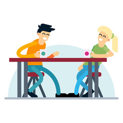 Couple having coffee date. Flat design vector concept on young adult man and woman enjoying their conversation.