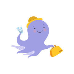 Cheerful octopusin a hat with bag, cute sea creature cartoon character travelling on summer vacation vector Illustration on a white background
