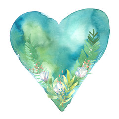 Simple abstract light blue heart with green leaves and white flowers painted in watercolor on clean white background
