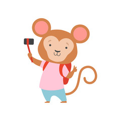 Cheerful tourist monkey with bacpack and photo camera, cute animal cartoon character travelling on summer vacation vector Illustration on a white background