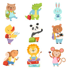 Cute cartoon animals traveling on summer vacation set, dog, crocodile, bunny, duckling, panda, bear, squirrel, lion, monkey with suitcases vector Illustration