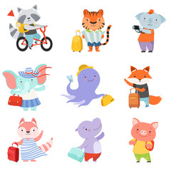 Cute cartoon animals set, raccoon, tiger, coala, elephant, octopus, fox, cat, mouse, piglet travelling on summer vacation vector Illustration on a white background
