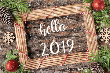 HELLO 2019  lettering design. Winter holiday composition.