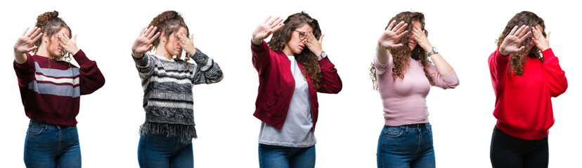 Collage of young brunette curly hair girl over isolated background covering eyes with hands and doing stop gesture with sad and fear expression. Embarrassed and negative concept.